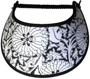 Foam sun visor with assorted white flowers & leaves on black