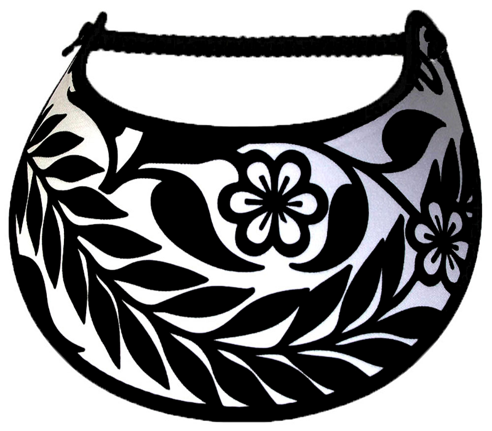 Foam sun visor with long black leaf on white