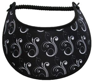 Foam sun visor with white flourish on black