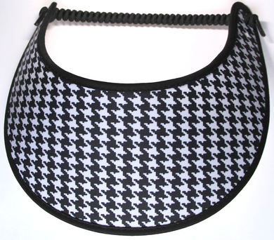 Foam sun visor with houndstooth design on black