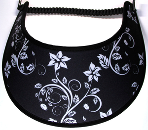 Foam sun visor with dainty white flowers on black