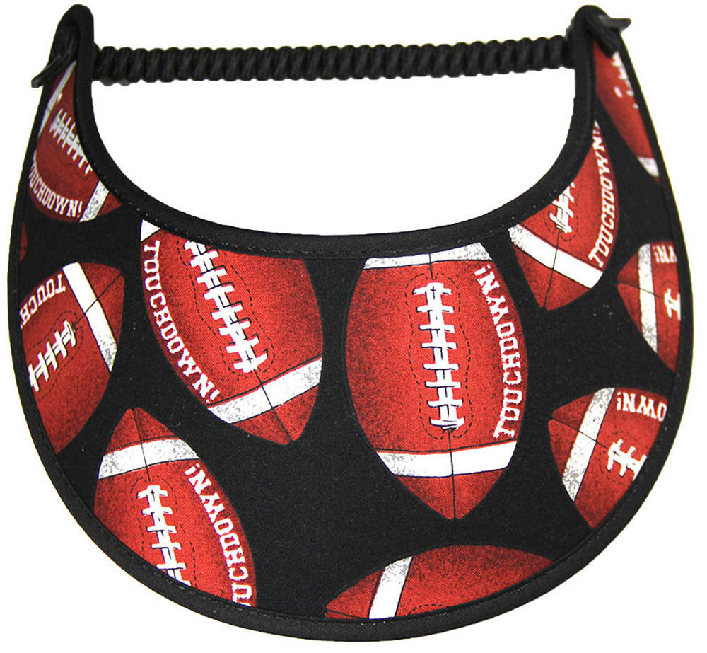 Ladies sun visor with footballs on black