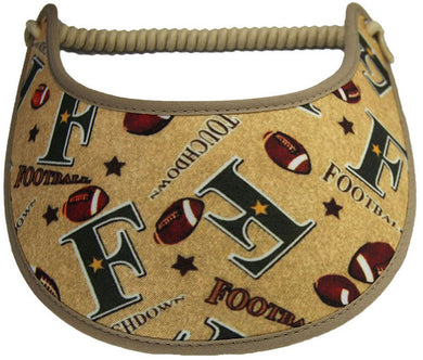 Ladies sun visor with footballs on a green background