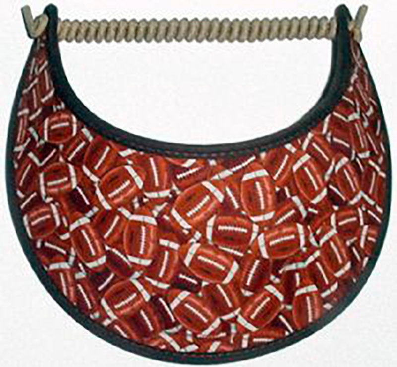 Ladies sun visor with small brown footballs