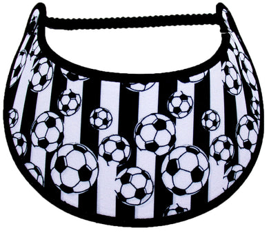 Foam sun visor with  soccer balls on black and white stripe