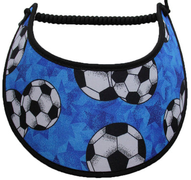 Foam sun visor with large soccer balls light blue background.