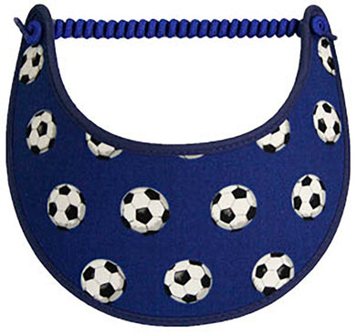 Foam sun visor with small soccer balls navy blue background.