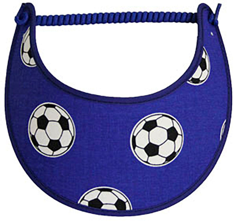 Foam sun visor with soccer balls royal blue background.