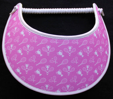 Foam sun visor with tennis rackets & balls on pink
