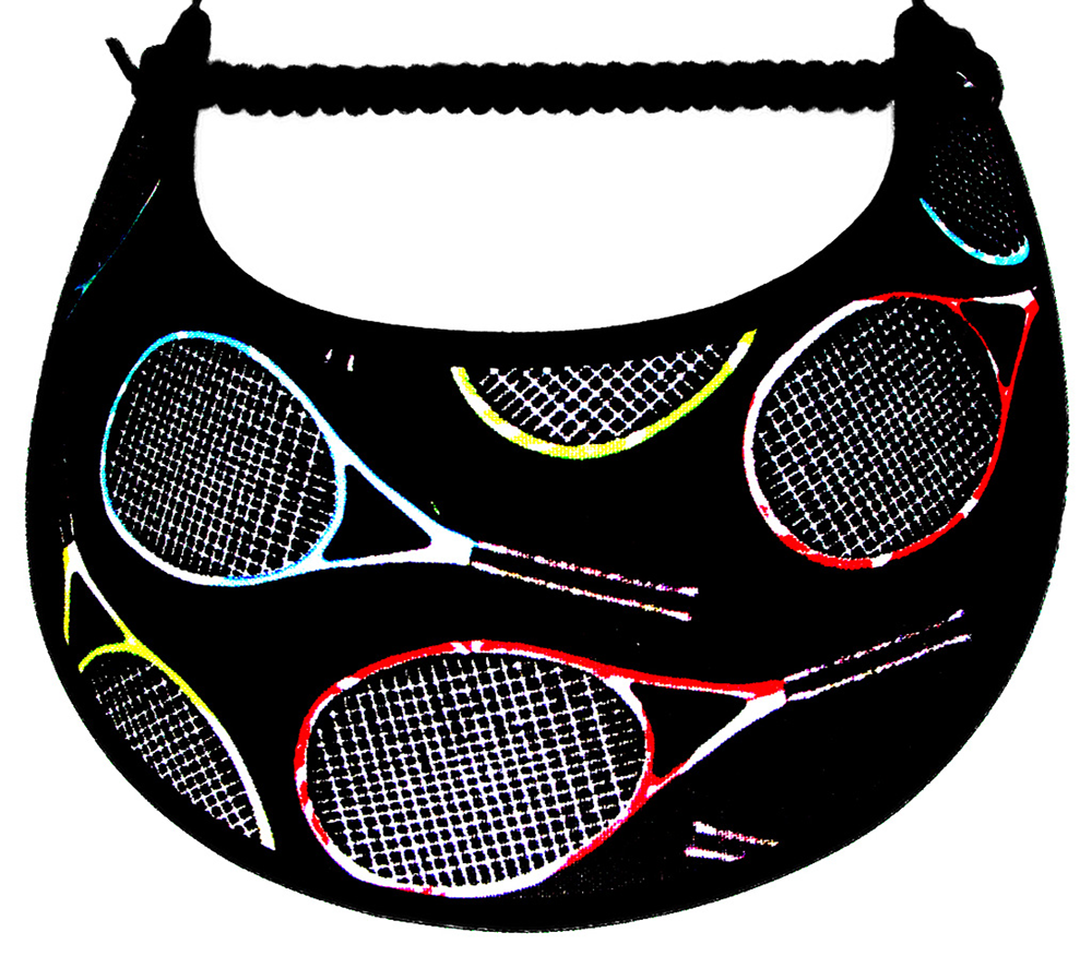Foam sun visor with large multicolored tennis rackets