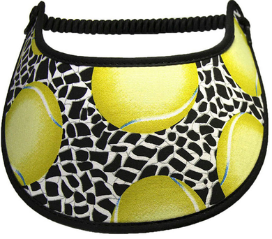 Ladies foam visor with tennis balls & nets on black background