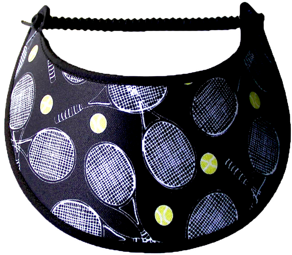 Foam sun visor with tennis rackets & balls on a black background