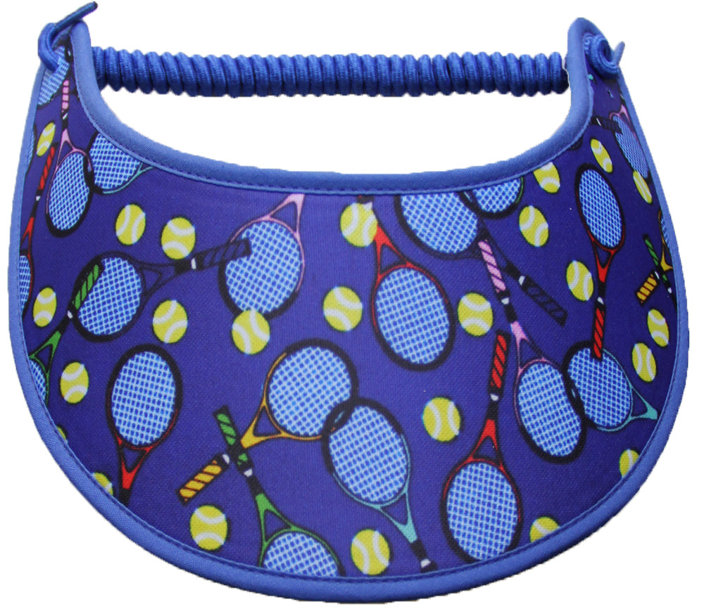 Ladies sun visor with tennis balls and racquets on blue