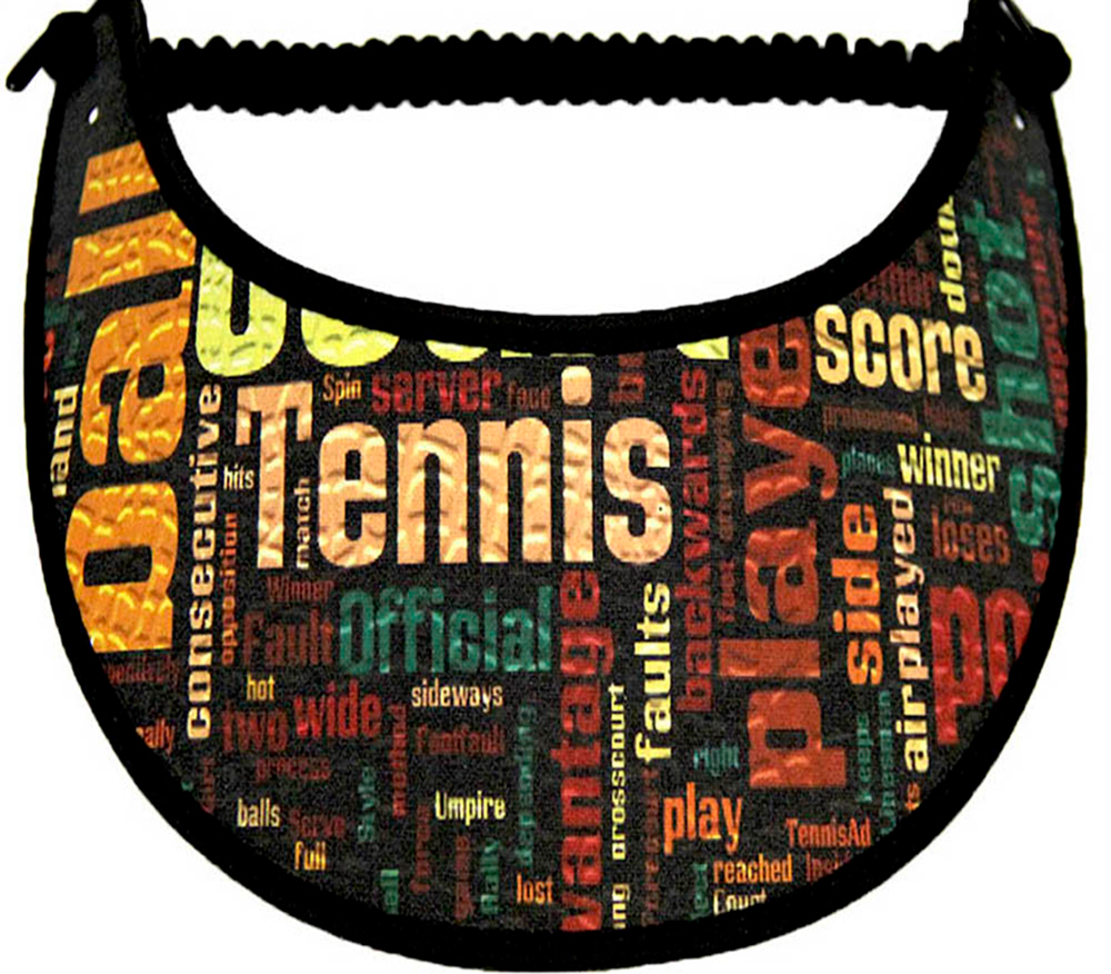Foam sun visor with words pertaining to tennis
