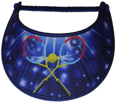 Ladies foam tennis visor with tennis rackets on blue background