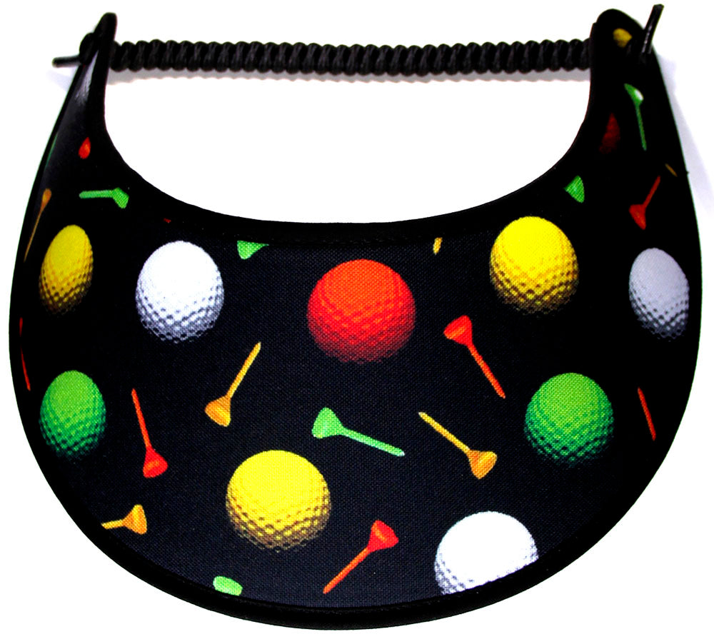 Foam sun visor with golf accessories on green