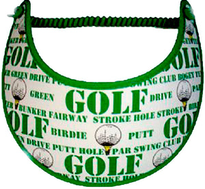 Foam sun visor with golf words on white