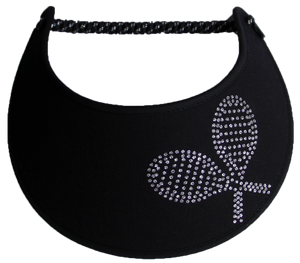 Foam Sun Visor with silver tennis racquets on black