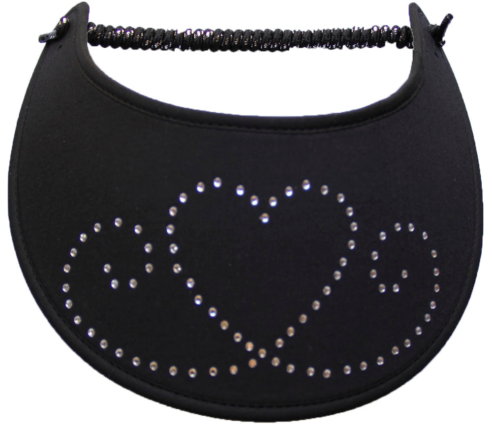 Foam sun visor with heart and swirls in rhinestones