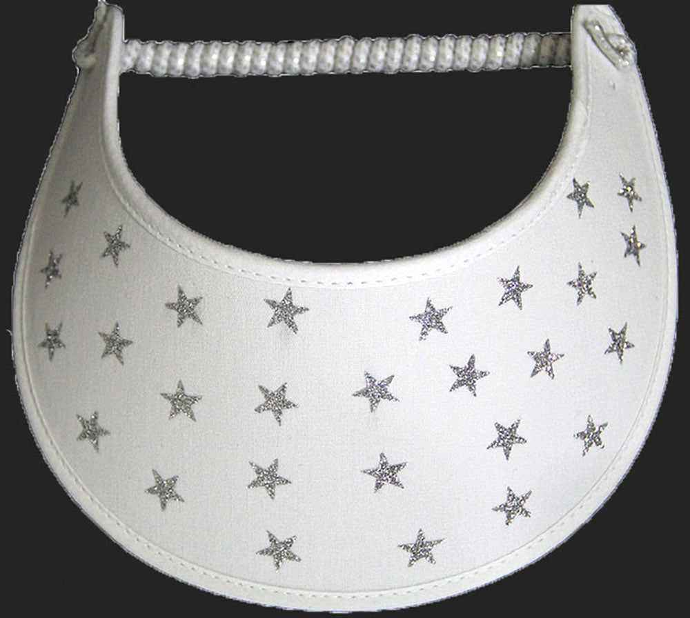 Foam sun visor with bling stars on white