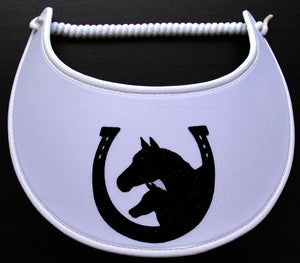 Foam sun visor with horseshoe and horses