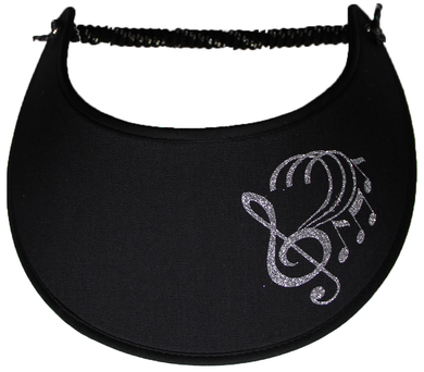 GB400 SILVER MUSIC NOTES ON BLACK...EDGES TRIMMED WITH BLACK FABRIC
