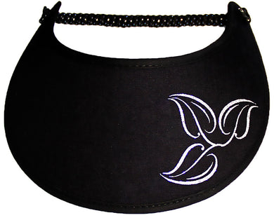 Foam sun visor with silver leaves on black