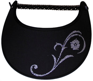 Foam sun visor with silver flower and swirl stem on black
