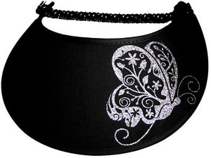 Foam sun visor with fancy butterfly