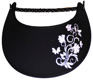 Foam sun visor with flowers, leaves butterflies