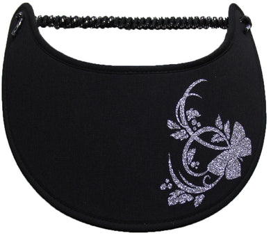 Ladies foam sun visor with silver glitz butterfly & leaves on black