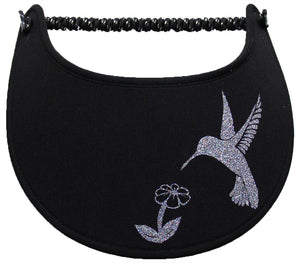 Ladies foam sun visor with multicolored glitz hummingbird and flower on black