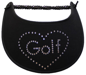 Foam sun visor with rhinestones on black for golf