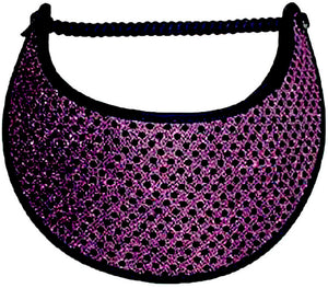 Foam sun visor with purple glitz