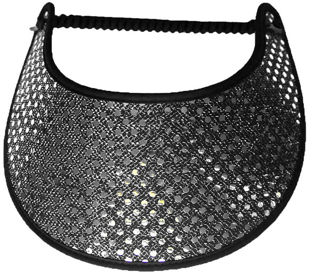 Foam sun visor with silver glitz on black background