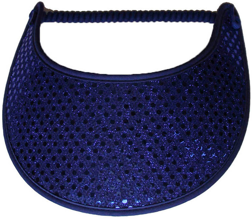 Foam sun visor with royal blue glitz