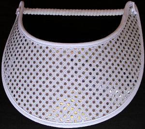 Foam sun visor with silver glitz on white background