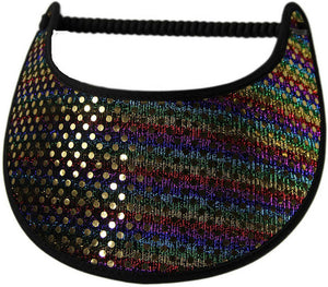 Foam sun visor with multicolor striped glitz