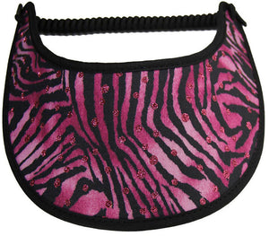 Foam sun visor with zebra on pink with pink glitz dots