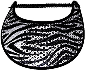 Foam sun visor with zebra on gray with sequins