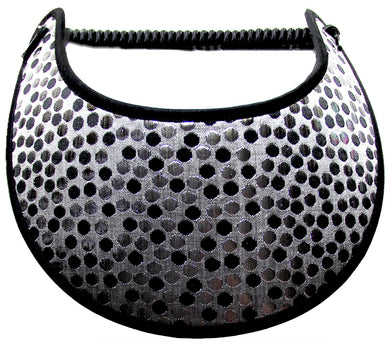 Ladies sun visor with black & silver dots on gray