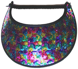 J421 COLORFUL SEQUINS COVER VISOR...VISOR EDGES TRIMMED WITH BLACK FABRIC