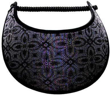 Ladies sun visor with multicolor metallic threads making the design:
