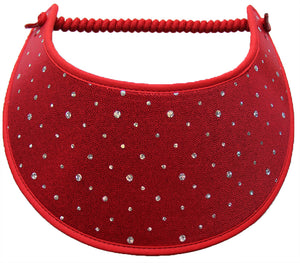 Ladies sun visor silver dots on red