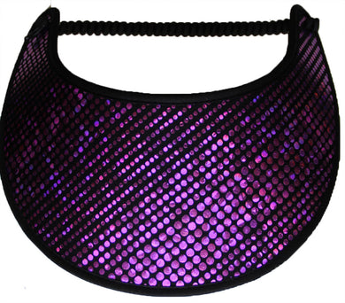 Ladies sun visor purple glitz dots on black