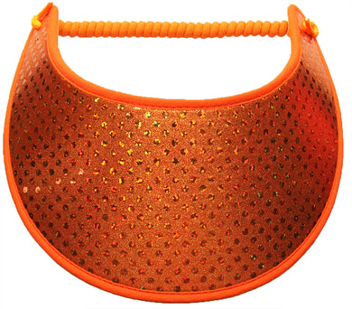 Ladies sun visor burnt orange glitz dots on burnt orange