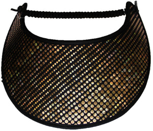 Ladies sun visor gold glitz dots on black
