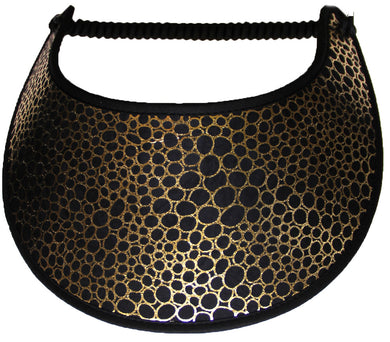 Ladies sun visor with gold filigree design on black