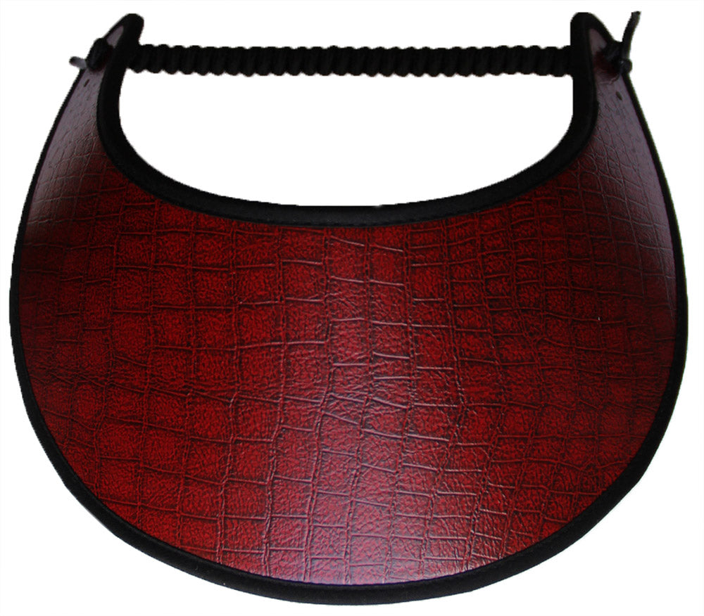 Red faux leather sun visor