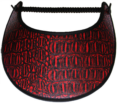 Ladies sun visor with alligator design on red & black faux leather